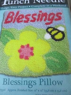 """MCG Textiles #73516 Rug Yarn Punch Needle Blessings Pillow Kit 12"""" x 12"""" New"""