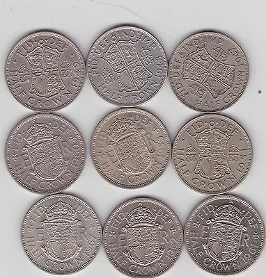 Nine Halfcrowns 1947 To 1967 In Very Fine To Near Mint Condition