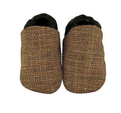 NEW Black/brown tweed fabric baby shoes Boy's by Cheeky Little Soles