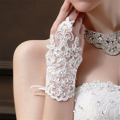 Women Lace white Fingerless Short Paragraph Rhinestone Bridal Wedding Gloves