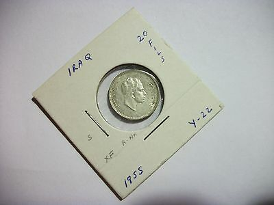Iraq 1955 20 Fils silver foreign coin