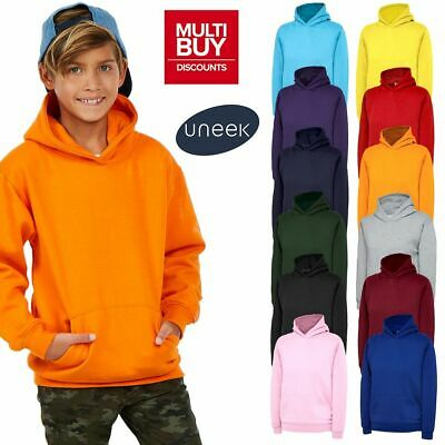 UNEEK Children's Boys Girls Plain Hooded Sweatshirt Hoodie Ages 2-13 UC503