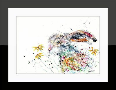 SkinnyDaz- A4/A3 Art Print from Original Watercolour Hare Painting-Animal