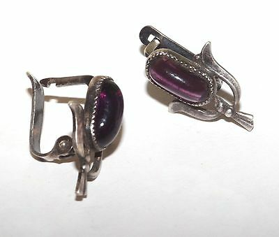 Soviet USSR Vintage EARRINGS Silver plated Awesome Antique AMETHYST STONE