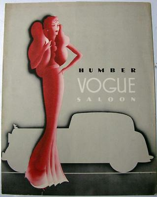 HUMBER Vogue Saloon Original Car Sales Brochure 1935/6 Ref no. H.47,#1654/10/34