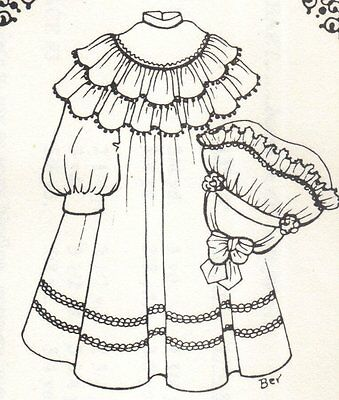 """Period Dress French German Victorian PATTERN for a 15"""" 16"""" Doll clothes 1155"""