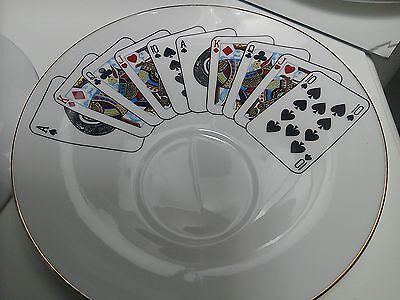 White Plate Saucer Playing Cards Indent For Cup Gold Rim Staffordshire