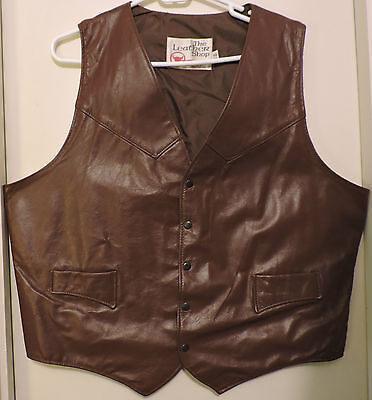 Men's Vintage Leather Vest - Sears Leather Shop - Western Style - 46 Reg. - NWOT