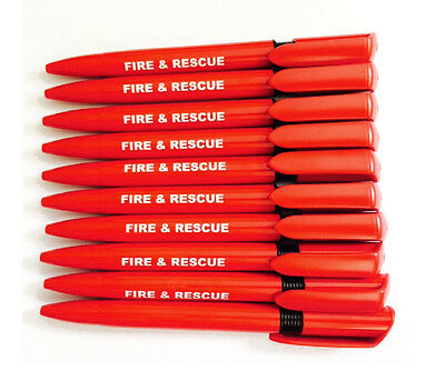 10 x Quality Pens Branded FIRE & RESCUE, Black Ink Ideal For Emergency Service