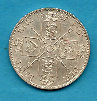 1887 Florin Coin. Queen Victoria Jubilee Head Sterling Silver 2/-. Two Shillings