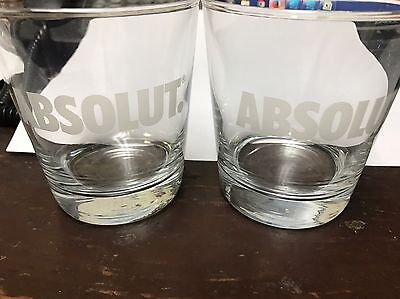 Absolut Vodka Glasses 12 Oz Etched Set Of Two