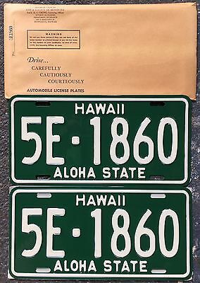 1961 Green Hawaii Authentic Retro Unused Automobile License Mint Set #5F-1860
