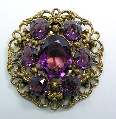 Vintage Ricarde of Hollywood Amethyst Color Rhinestone Dress Fur Clip Signed
