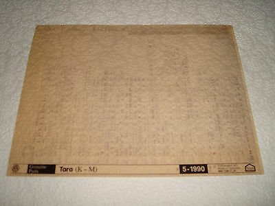 Volkswagen Taro (K-M) Parts Microfiche Full Set Of 1 - Dated May 1990 English