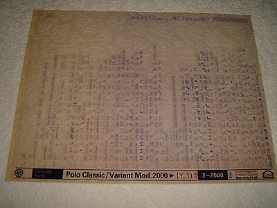 VOLKSWAGEN POLO CLASSIC/VARIANT MOD.2000on (Y,1) PARTS MICROFICHE FULL SET OF 1