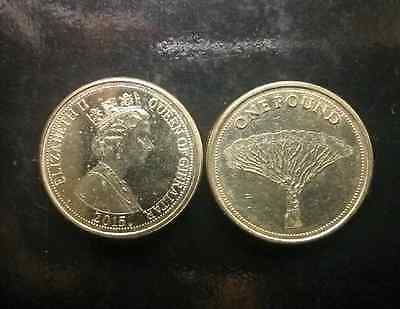 Gibraltar. 2015. Coin. One Pound. Dragon Tree. Uncirculated.