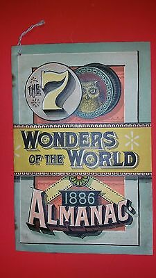 Vintage Antique Almanac 1886 The 7 wonders of the world  Newcomb, NY