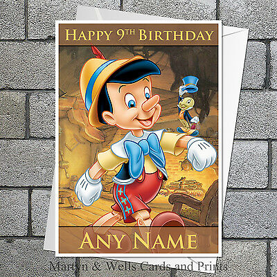 Pinocchio birthday card: Personalised, with envelope.