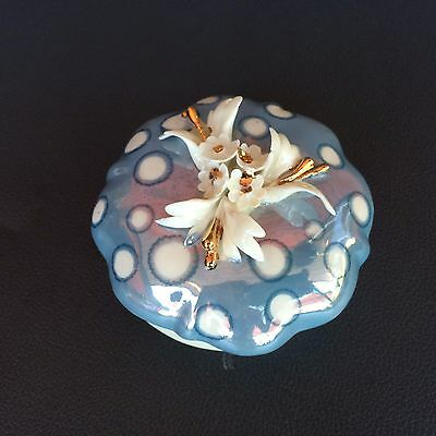 Vintage Capodimonte Samuels Porcelain Flowers White Blue Gold Made in Italy Case