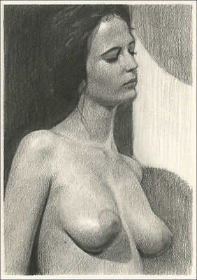 Limited Edition Pencil Drawing Erotic Art Print - Eva Green Nude