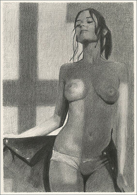 Limited Edition Erotic Art Print Pencil Drawing - Eva Green Nude Sexy
