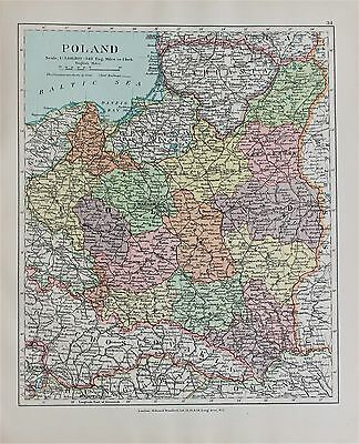 Poland - Antique-Vintage 1920 Colour Map by Stanford