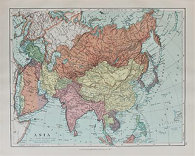 Asia Siberia China India - Antique-Vintage 1920 Colour Map by Stanford
