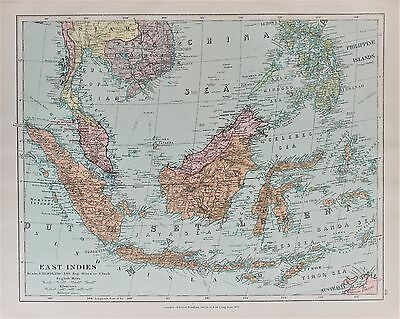 Indonesia Malaysia - Antique-Vintage 1920 Colour Map by Stanford
