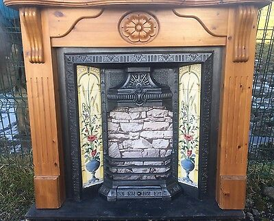 Cast Iron Fireplace Surround Fire Wood Old Tiled Insert Antique Victorian Style