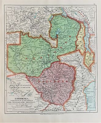 Rhodesia Zimbabwe Zambia - Antique-Vintage 1920 Colour Map by Stanford