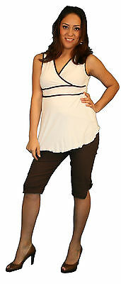 Two Piece Sleeveless Brown Cream pregnancy Maternity Blouse Top Pregnant V-Neck