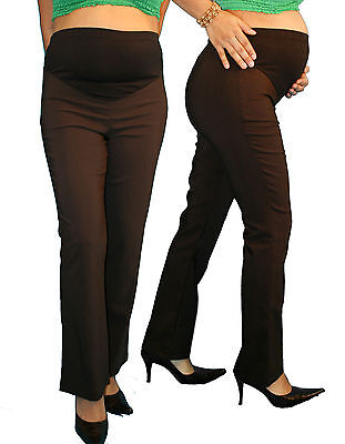 Brown Bootcut Work Attire Womens Maternity Pants Slacks Bottoms New Pregnancy
