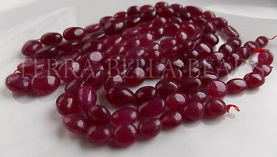 "7"" strand PINK SAPPHIRE smooth polished precious gem stone oval beads 7mm - 10mm"
