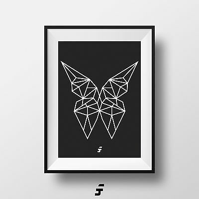 Abstract Geometric Butterfly Illustration Picture Wall Art Print A4