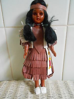 Small Hard Pastic Doll 'dusky' Dressed As Indian