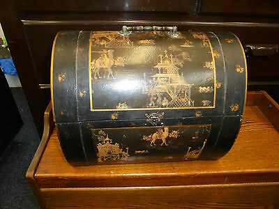 Wooden Storage Box Domed Decorated With Elephants Camelspagodas