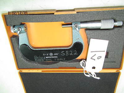 """MITUTOYO THREAD MICROMETER 2""""-3"""" WITH ANVILS No126-139"""
