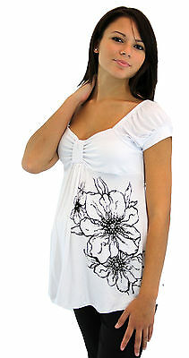White Flower Black Maternity Blouse Short Sleeve Top Womens Pregnancy Blouse