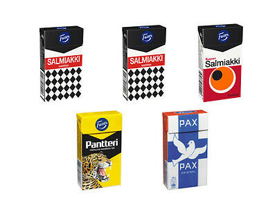 Fazer Salmiakki and Liquorice pastilles x 5 pack Finnish Salmiakki and Liquorice
