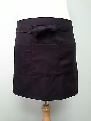 Serving Apron, Black with 4 pockets, Thick waist band.