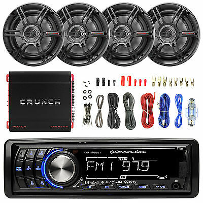 """Crunch 1000W Amplifier, Bluetooth USB Receiver, 6.5""""Car Speakers and 50FT Wiring"""