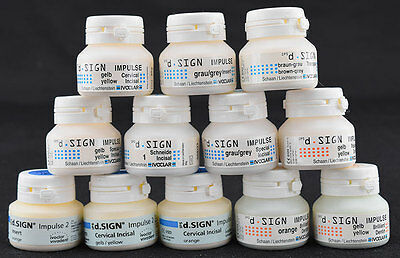 NEW Mixed Lot of 12 Ivoclar IPS d.Sign 20g Porcelain Ceramic Dental Lab Material