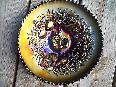 """Antique Northwood """"Three Fruits"""" Amethyst Carnival Glass Plate - Marked"""
