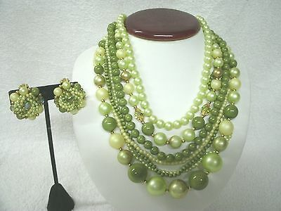 """Beautiful Vintage 7 Strand Beaded Necklace and Clip Earrings--Asst Green's--16"""""""