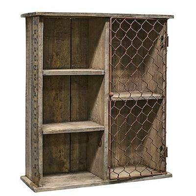 Primitive Aged Wood Cubby Shelf Cabinet