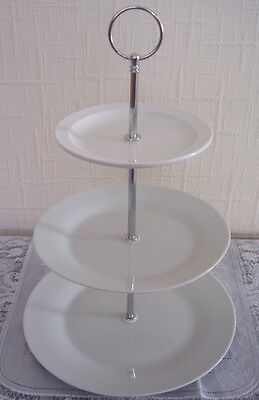 Set of ten (10) x new white three tier cake stands for afternoon tea / wedding