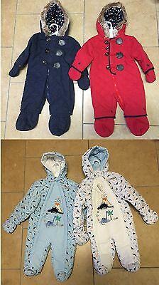 Baby Boys Snowsuit Padded Pramsuit All-In-One Winter Jacket NB 0-3 3-6 6-9 Month