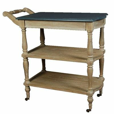 Farmhouse style drinks trolley serving trolley in natural timber and black top