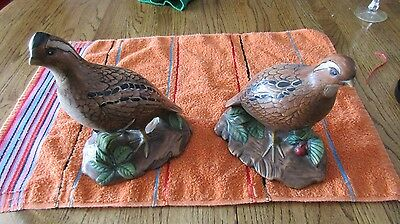 holland mold birds quail pair male and female signed