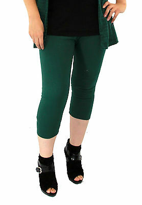 Maternity Womens Leggings Green Lace Detail Solid Fitted Stretch Ankle S M L XL